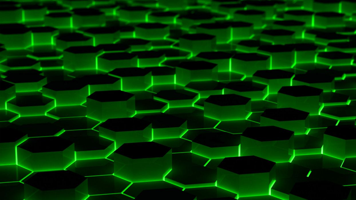 green abstract hexagons wallpaper
