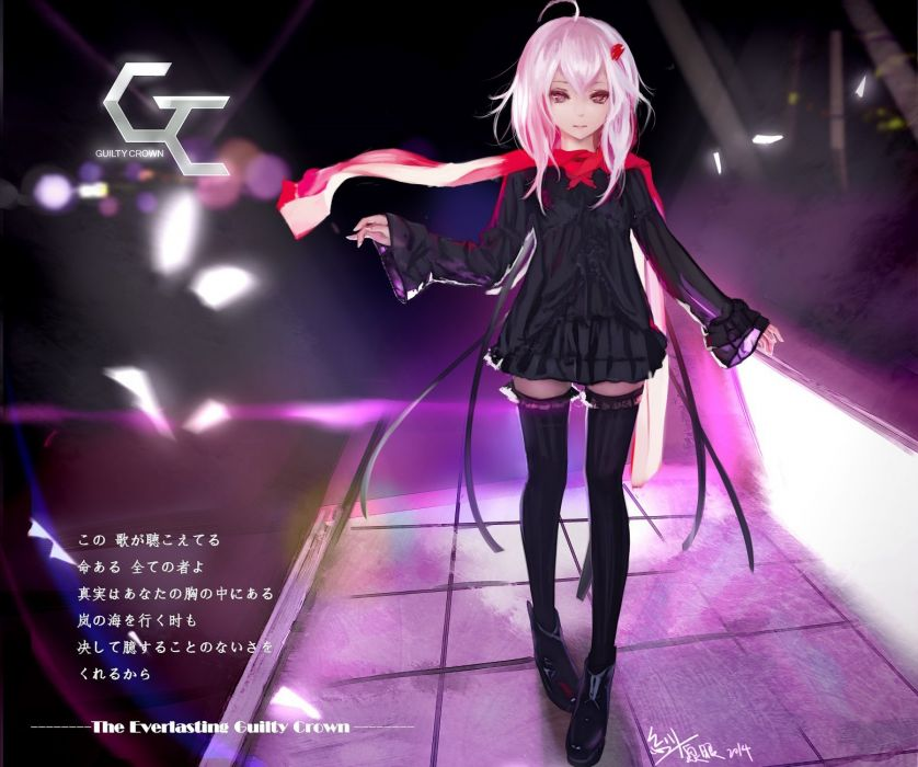 guilty crown boots dress guilty crown hc long hair pink eyes pink hair scarf thighhighs yuzuriha inori zettai ryouiki wallpaper