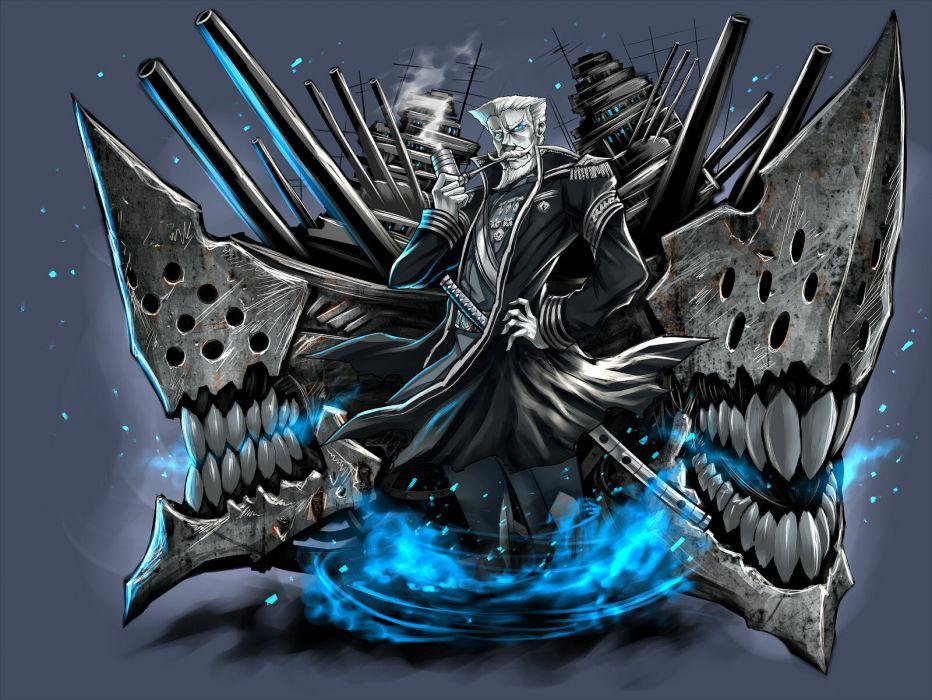 kantai collection blue eyes gia kantai collection katana male short hair sword uniform weapon white hair wallpaper