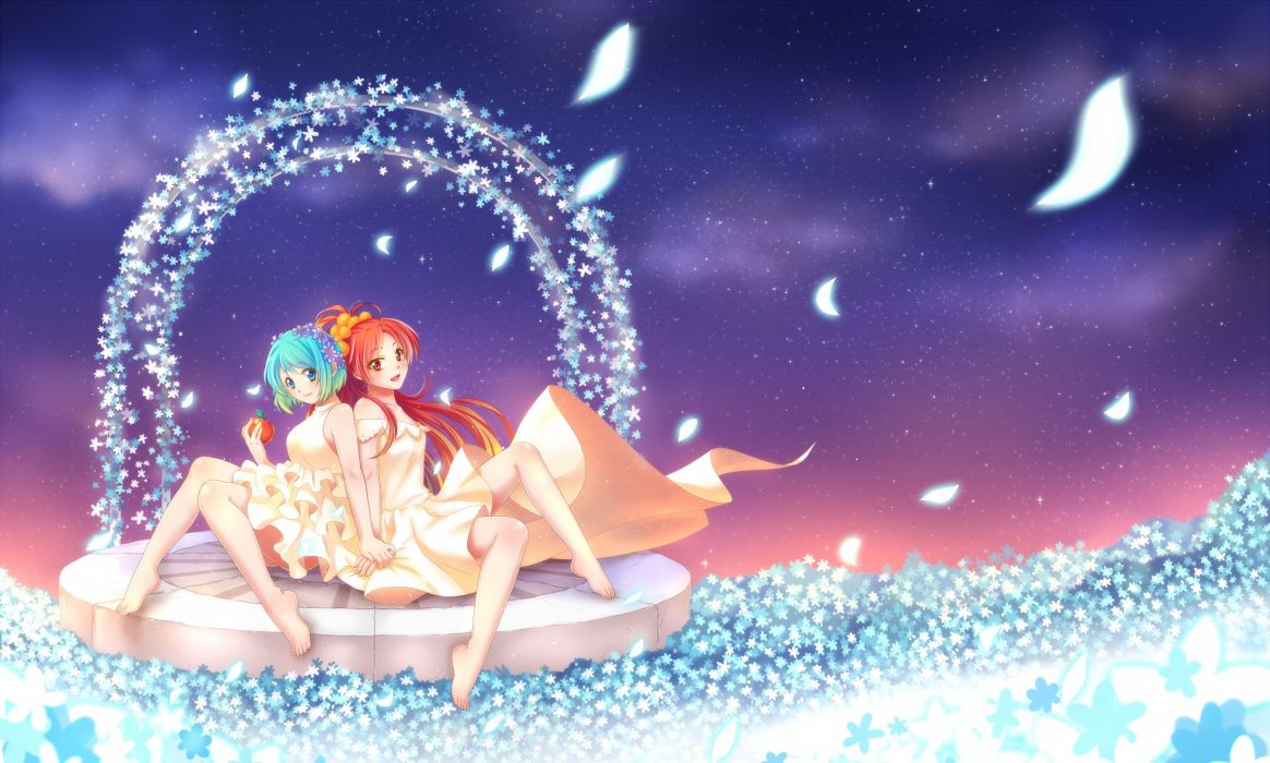 mahou shoujo madoka magica girls apple barefoot dress flowers mahou shoujo madoka magica miki sayaka petals sakura kyouko sha wallpaper