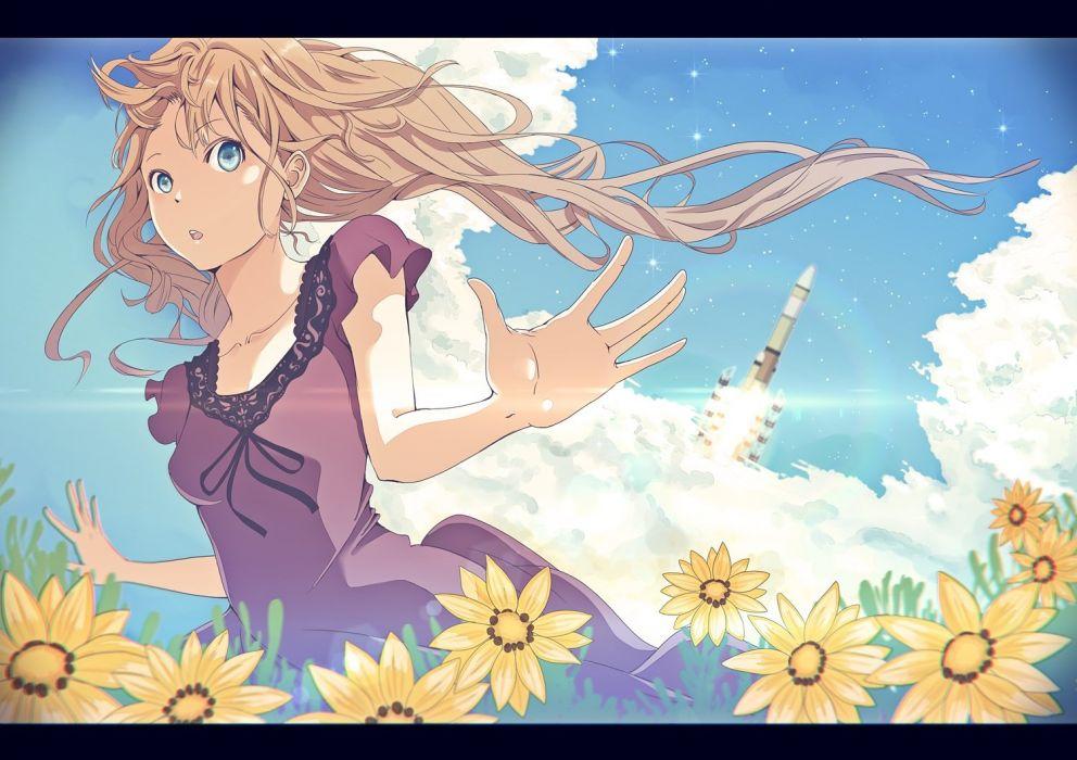 original aircraft blue eyes brown hair clouds dress flowers long hair original shimashima summer wallpaper