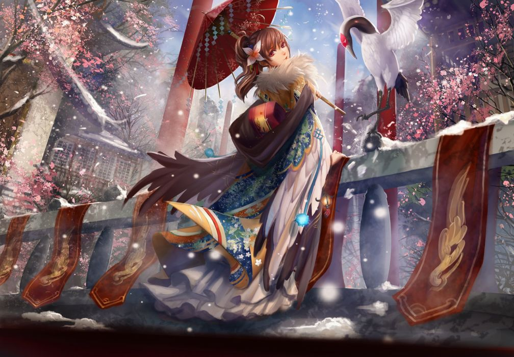 original animal bird brown hair cherry blossoms chinese clothes liu long hair original ponytail red eyes snow umbrella winter wallpaper
