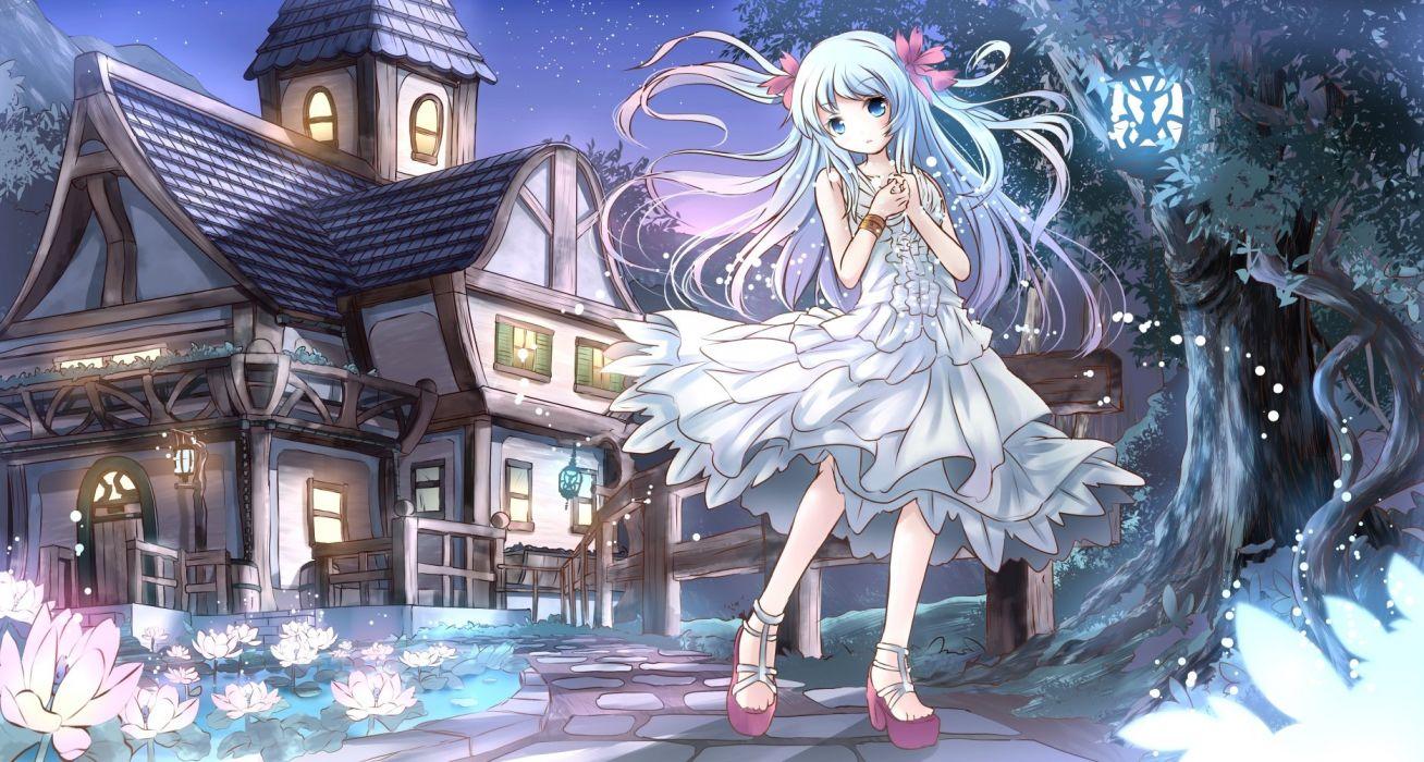 original blue eyes blue hair building dress flowers long hair night original risutaru stars tree wallpaper