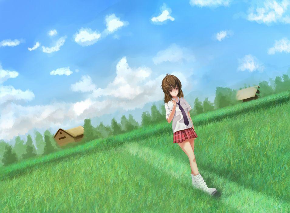 original brown eyes brown hair clouds grass original scenic seifuku skirt socks tie youxuemingdie wallpaper