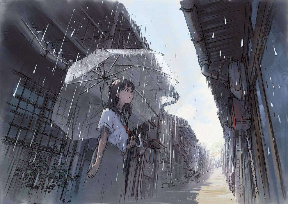 original building original rain seifuku umbrella yokoya wallpaper