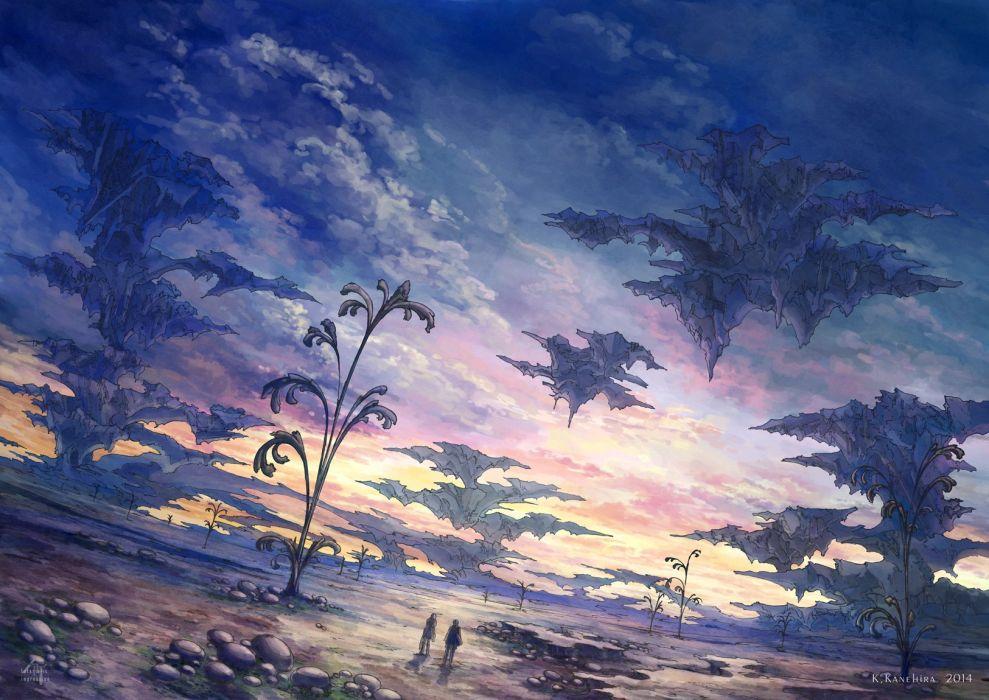 original clouds k kanehira landscape original scenic sky sunset watermark wallpaper