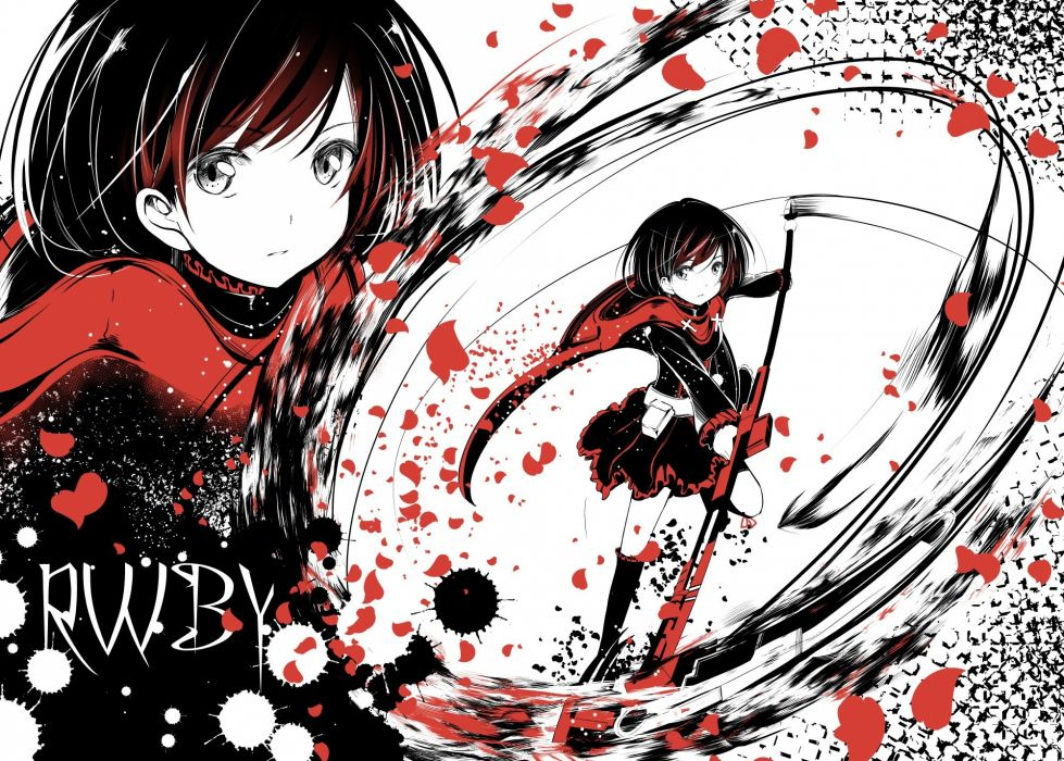 rwby cape dekochin hammer dress gray eyes kneehighs petals red hair ruby rose rwby scythe short hair weapon wallpaper