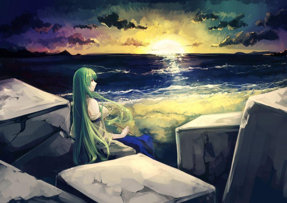 touhou beach clouds green hair japanese clothes kalalasan kochiya sanae long hair miko scenic sunset touhou water yellow eyes wallpaper