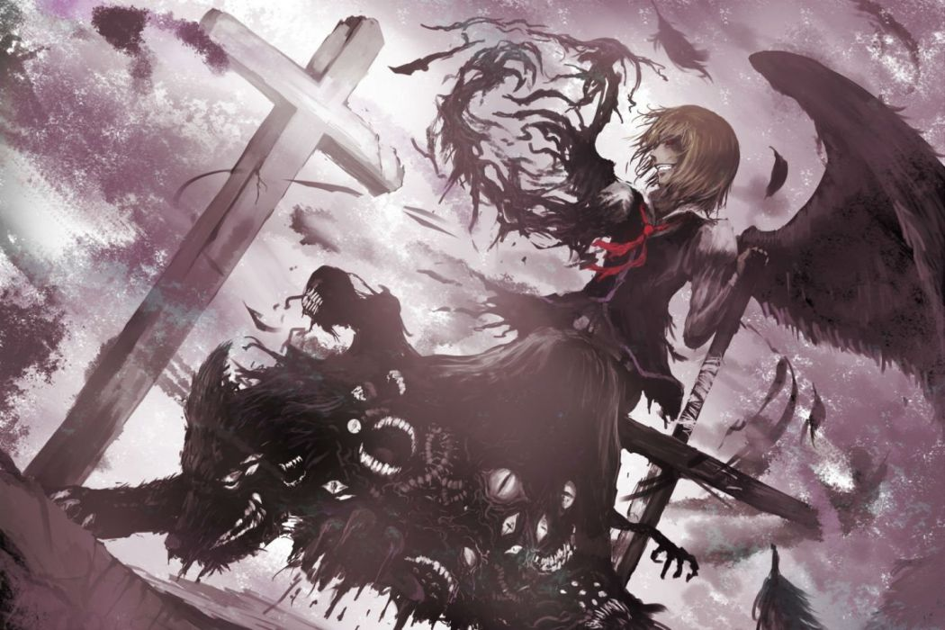 touhou blonde hair chama (painter) cross ex rumia feathers red eyes rumia short hair tie touhou wings wallpaper