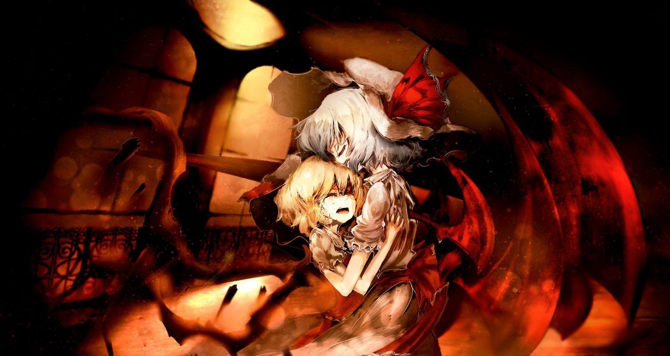touhou flandre scarlet hug remilia scarlet tears touhou yoshioka yoshiko wallpaper