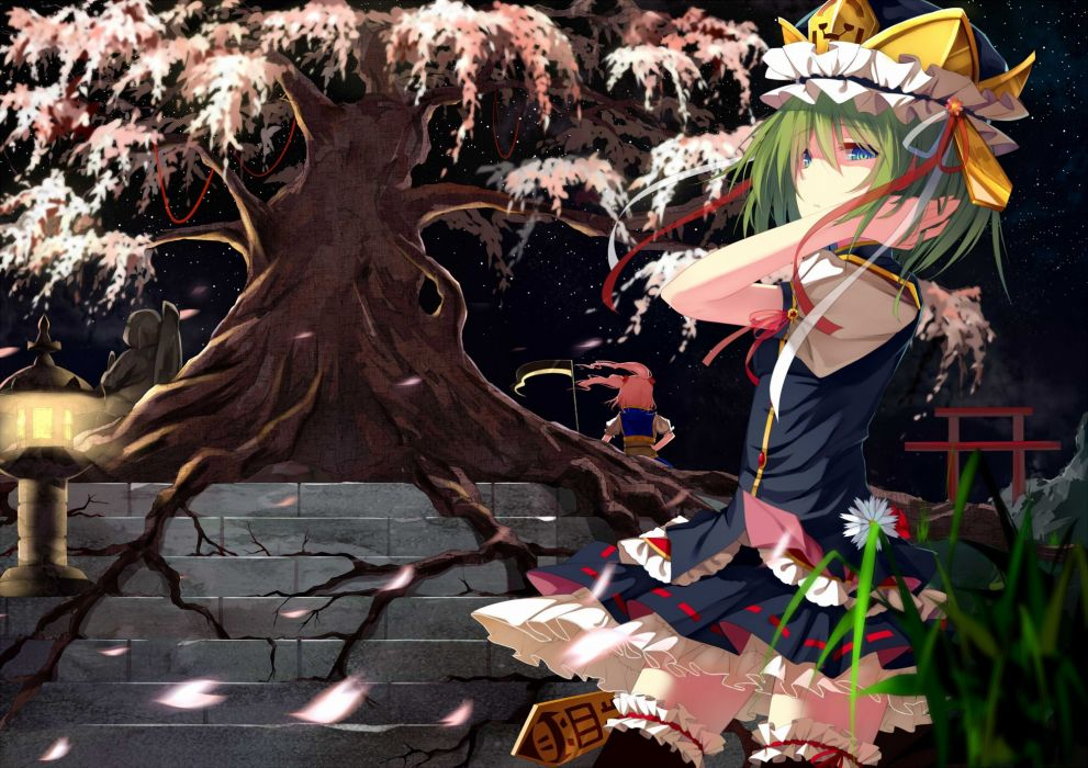 touhou girls blue eyes grass green hair hat night petals pink hair ribbons scythe skirt sky stairs stars suisai_ thighhighs torii touhou tree twintails wallpaper