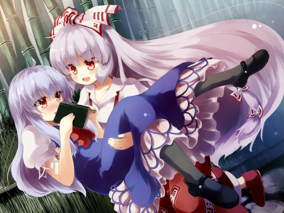 touhou girls blush book bow dress fujiwara no mokou gengetsu chihiro kamishirasawa keine long hair purple hair red eyes touhou wallpaper