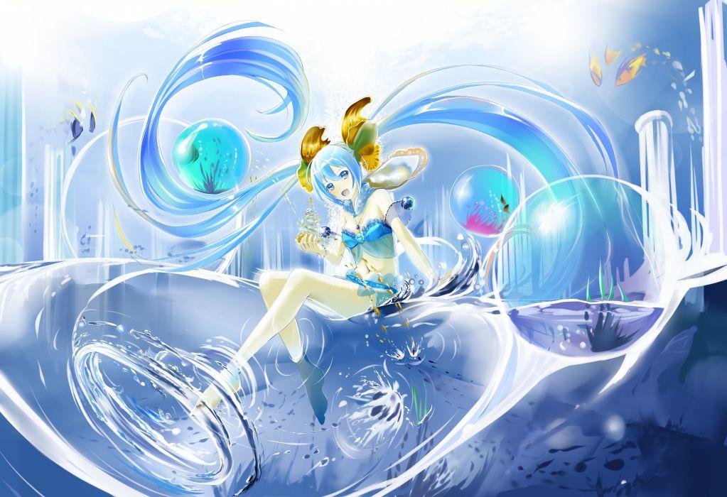 vocaloid animal bikini blue eyes blue hair fish hatsune miku kyaro (kyaro54) necklace swimsuit twintails vocaloid water d wallpaper