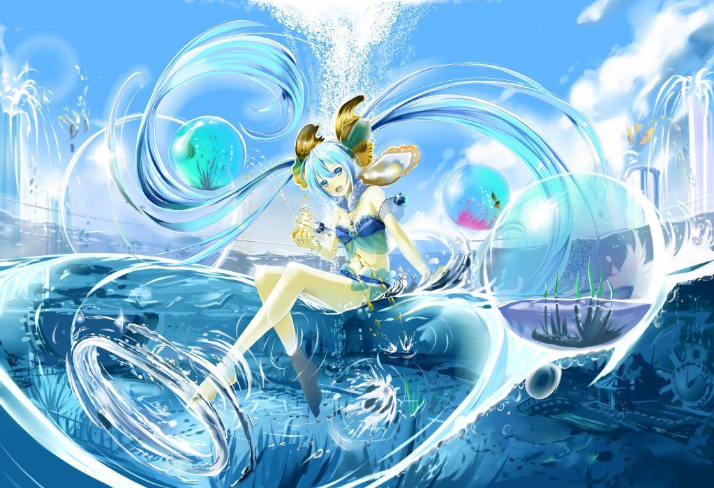 vocaloid animal bikini blue eyes blue hair fish hatsune miku kyaro (kyaro54) necklace swimsuit twintails vocaloid water wallpaper