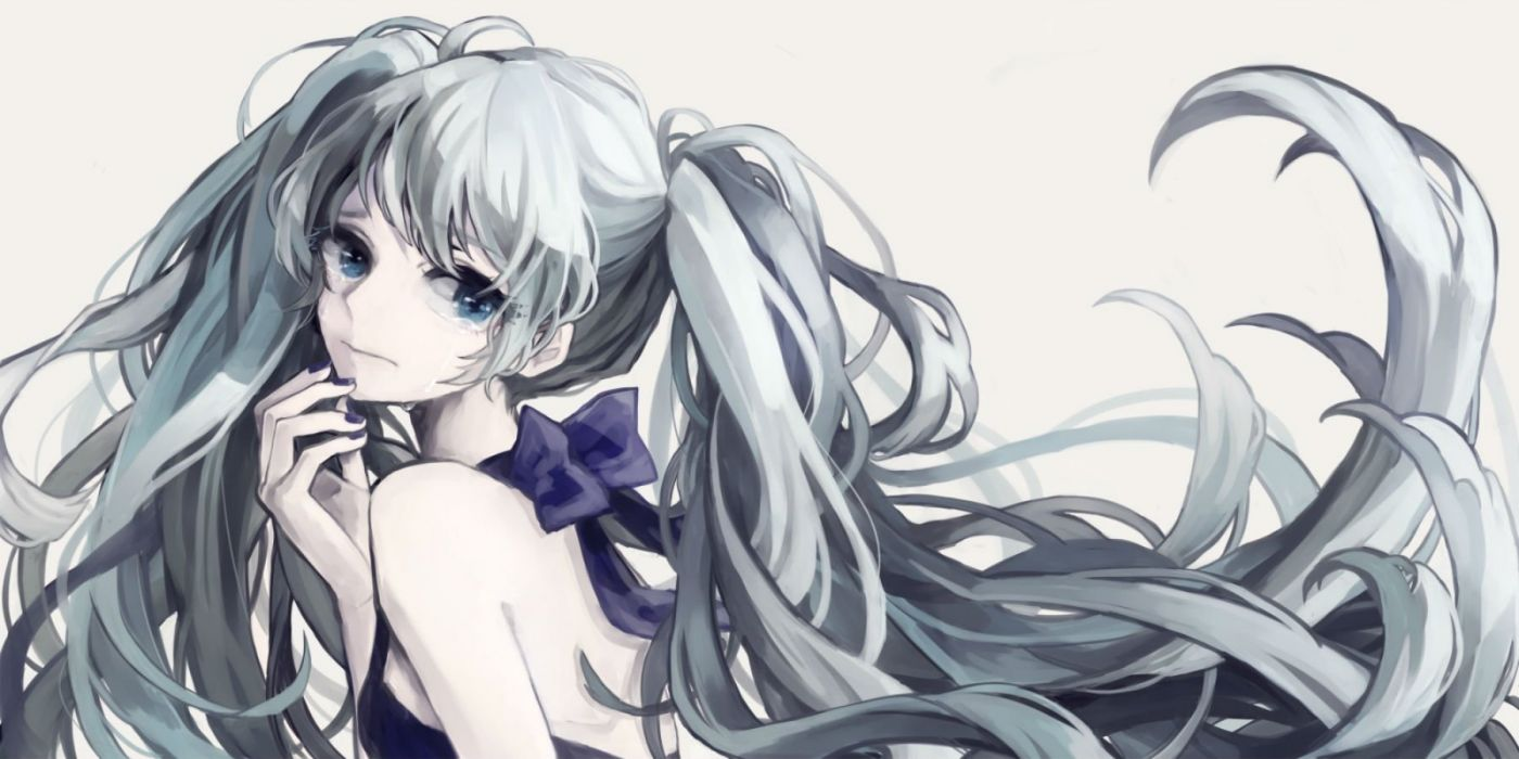 vocaloid blue eyes blue hair hatsune miku kohana (ayako) long hair tears twintails vocaloid wallpaper