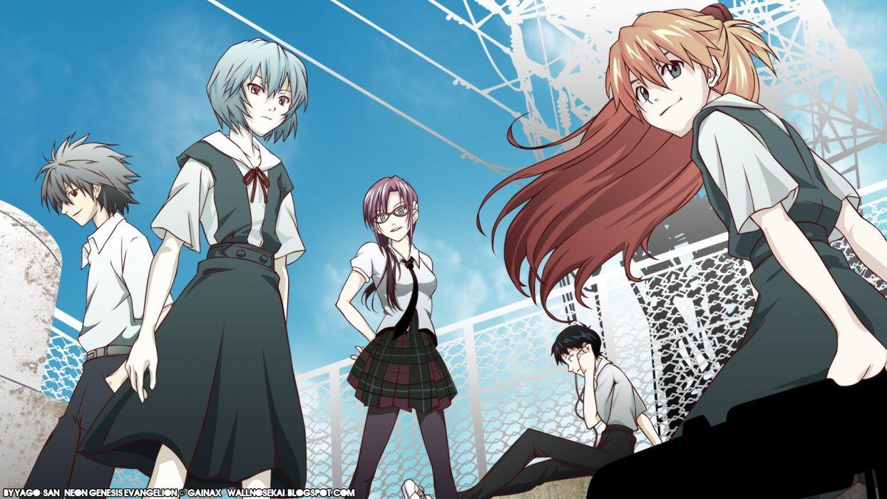 school uniforms Ayanami Rei Neon Genesis Evangelion Ikari Shinji Kaworu Nagisa Asuka Langley Soryu wallpaper