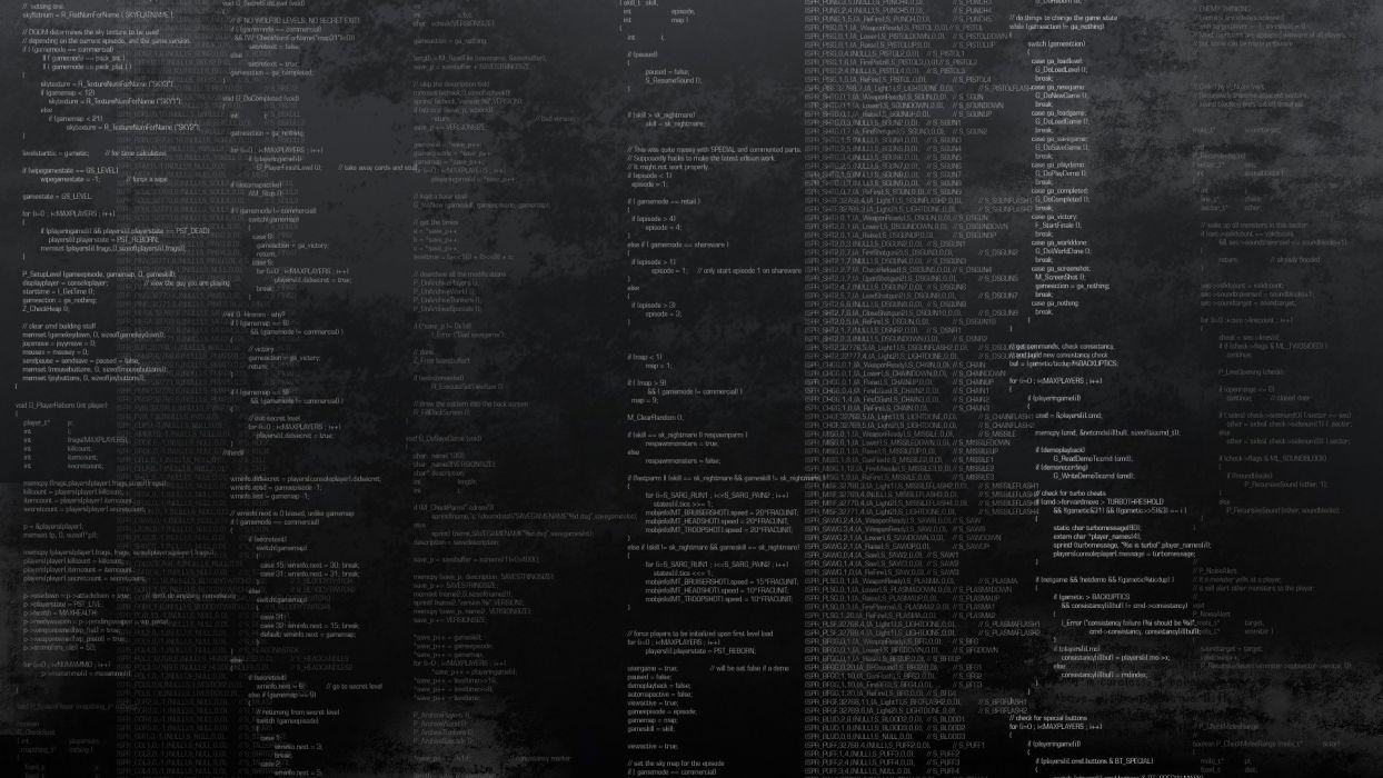 programming Doom code wallpaper