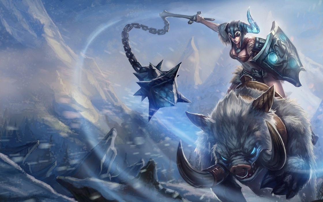 women video games horns League of Legends fantasy art shield artwork helmets Sejuani wallpaper
