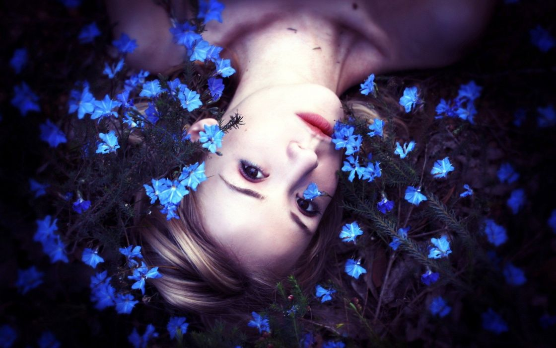 women nature flowers lying down faces wallpaper