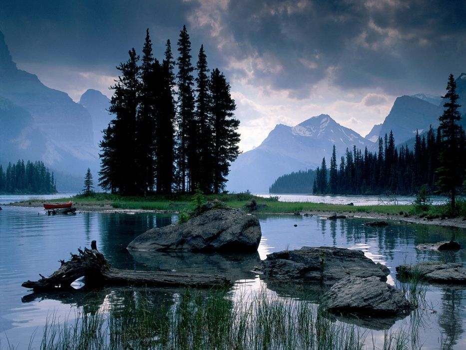 water mountains clouds landscapes trees rocks wallpaper