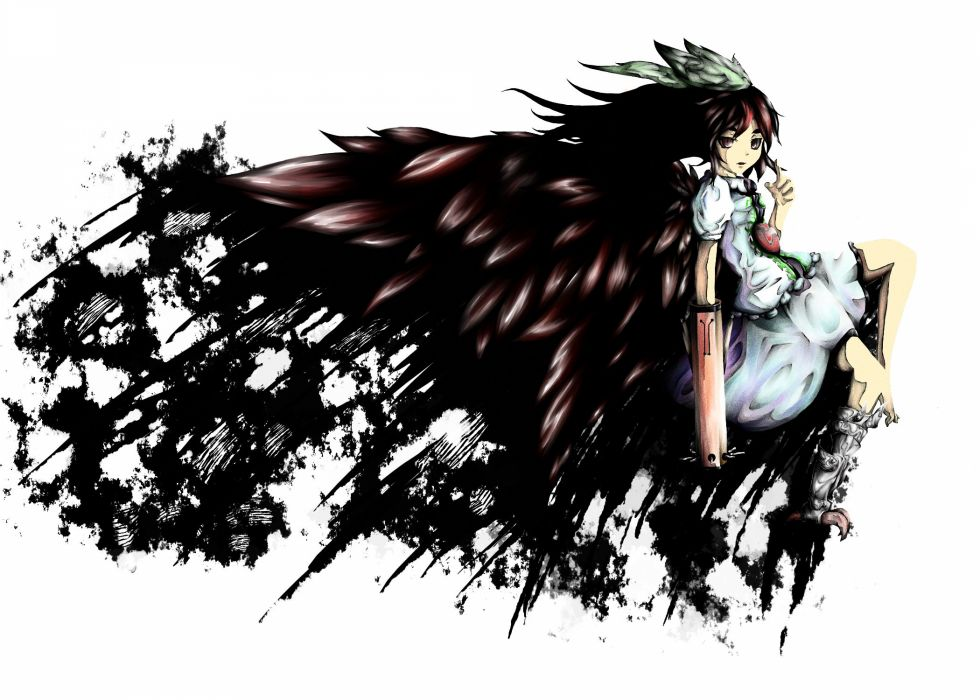 video games Touhou Reiuji Utsuho simple background anime girls wallpaper