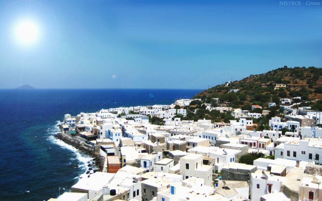 islands Greece nisyros sea wallpaper