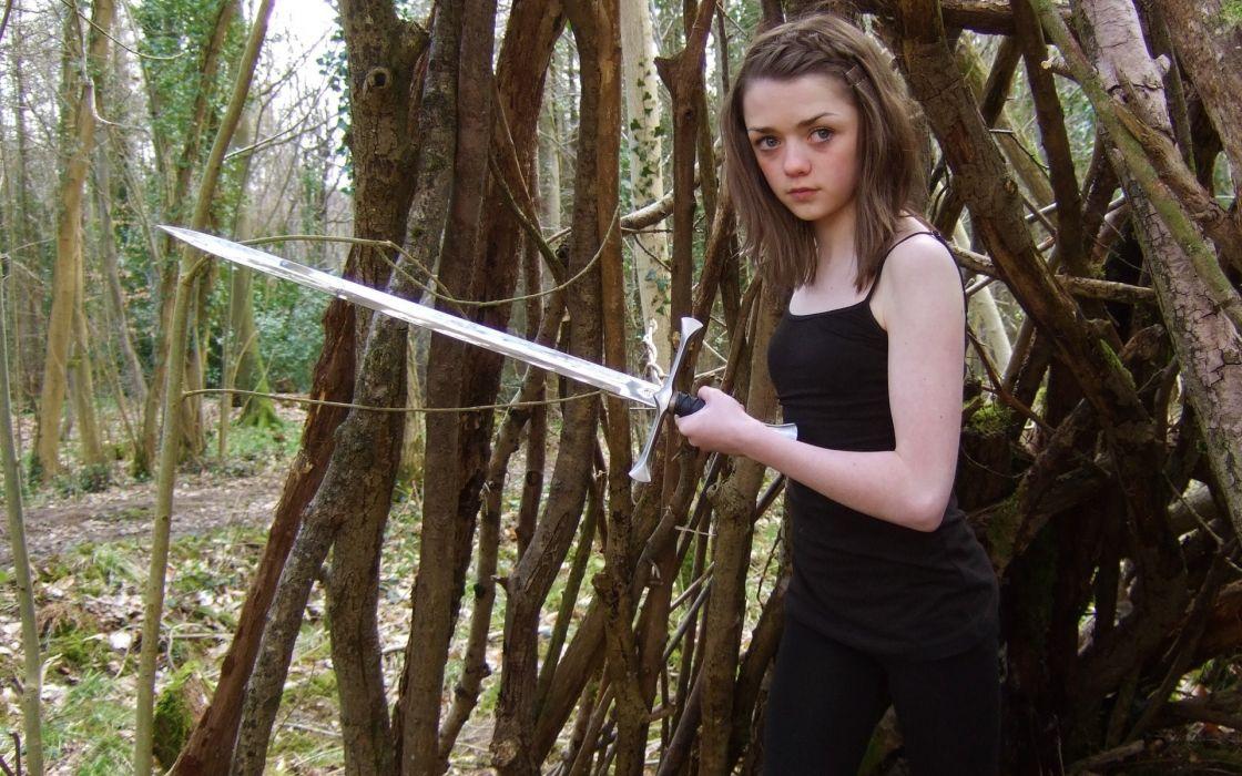actress Game of Thrones TV series Arya Stark swords Maisie Williams House Stark wallpaper