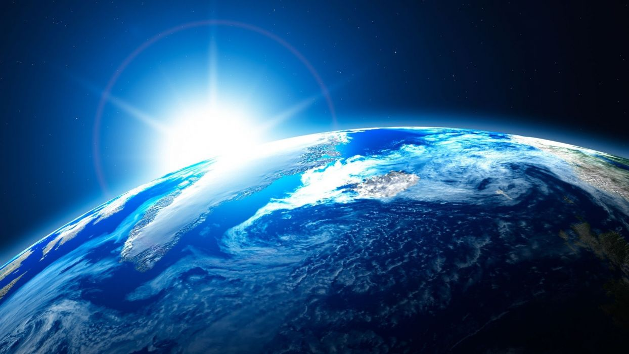 Sun outer space stars Earth digital art wallpaper