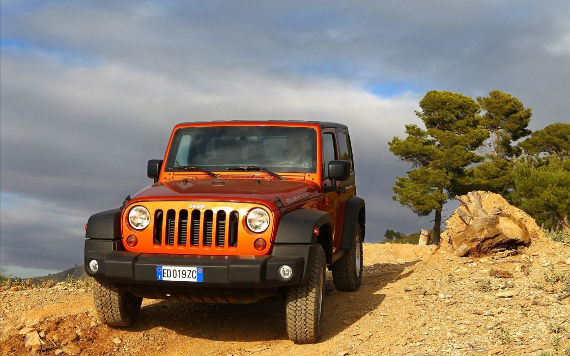 trees cars Jeep orange cars wallpaper