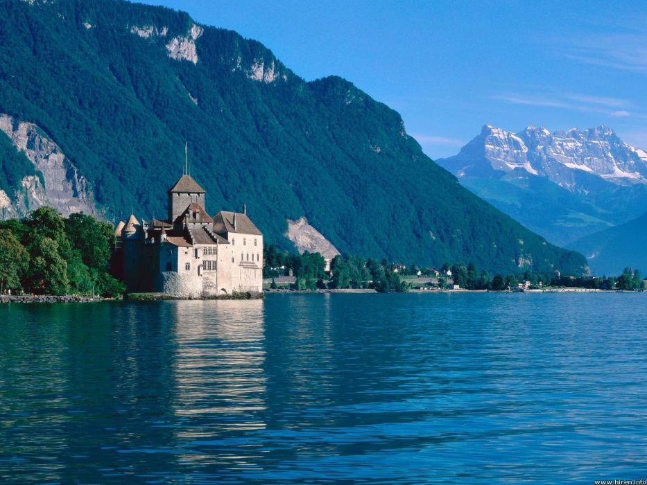 mountains nature castles Chillon Castle wallpaper