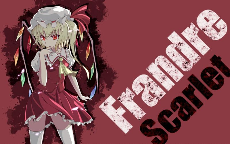 blondes Touhou wings red eyes short hair Flandre Scarlet anime girls wallpaper