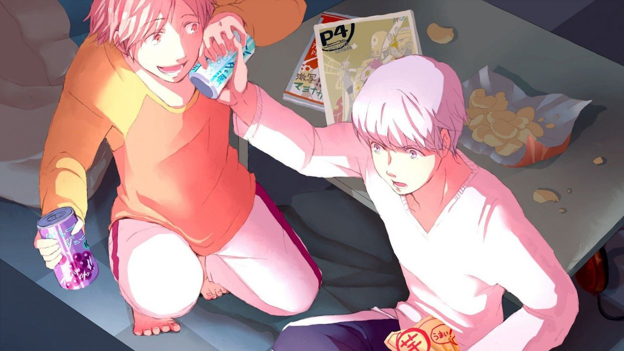 video games Persona 4 Hanamura Yosuke Narukami Yuu wallpaper