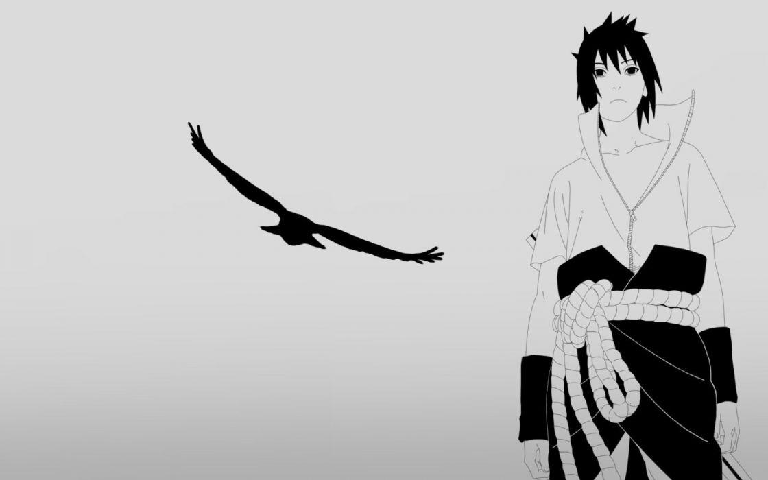 silhouettes Uchiha Sasuke eagles Naruto: Shippuden grayscale wallpaper