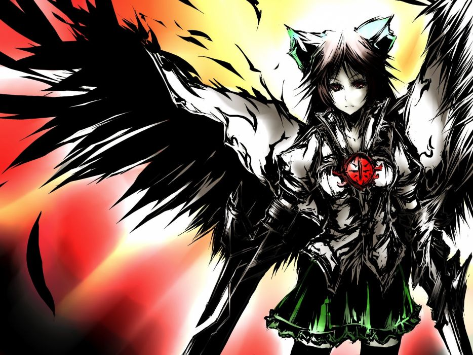 video games Touhou wings long hair red eyes thigh highs capes Reiuji Utsuho anime girls wallpaper