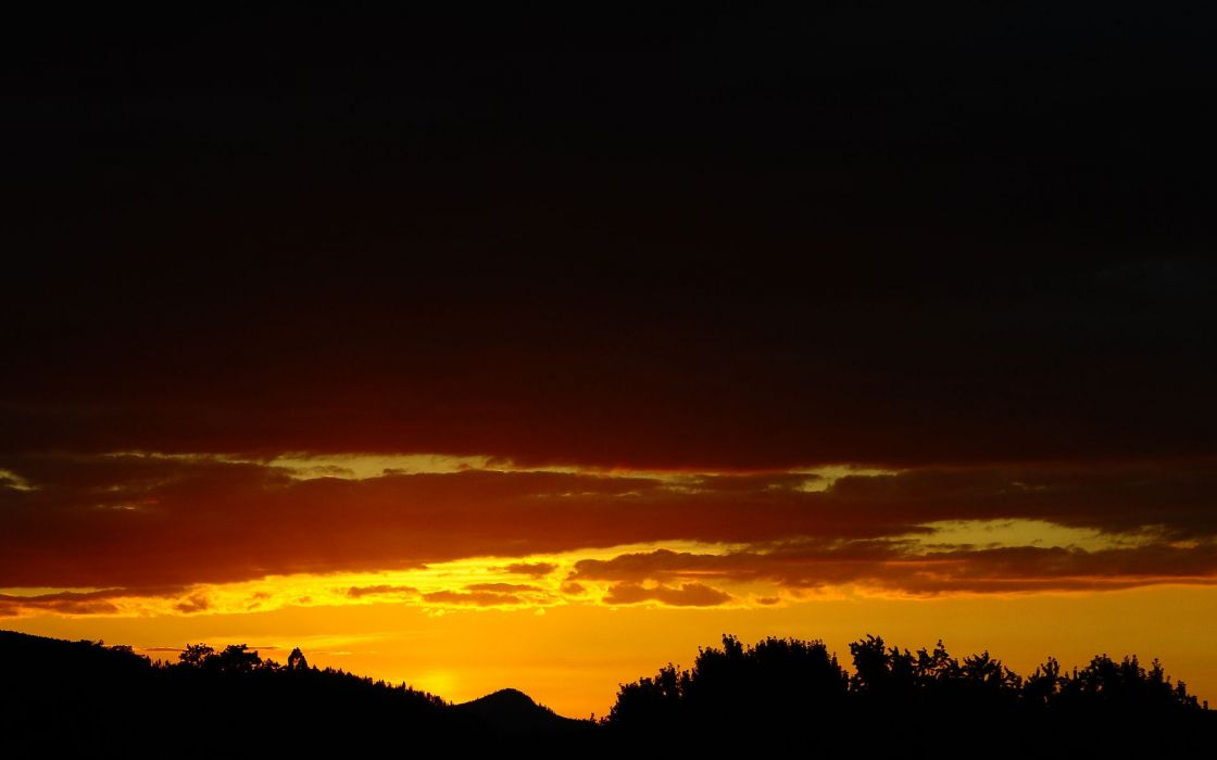sunset clouds silhouettes wallpaper