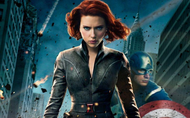 Scarlett Johansson Captain America Black Widow Chris Evans zippers The Avengers (movie) wallpaper