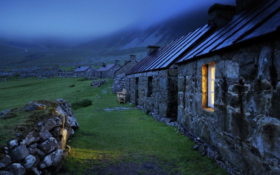 landscapes houses rocks mist Scotland window panes stone houses wallpaper
