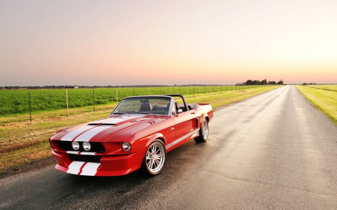 nature cars convertible HDR photography red cars Shelby GT 500 wallpaper