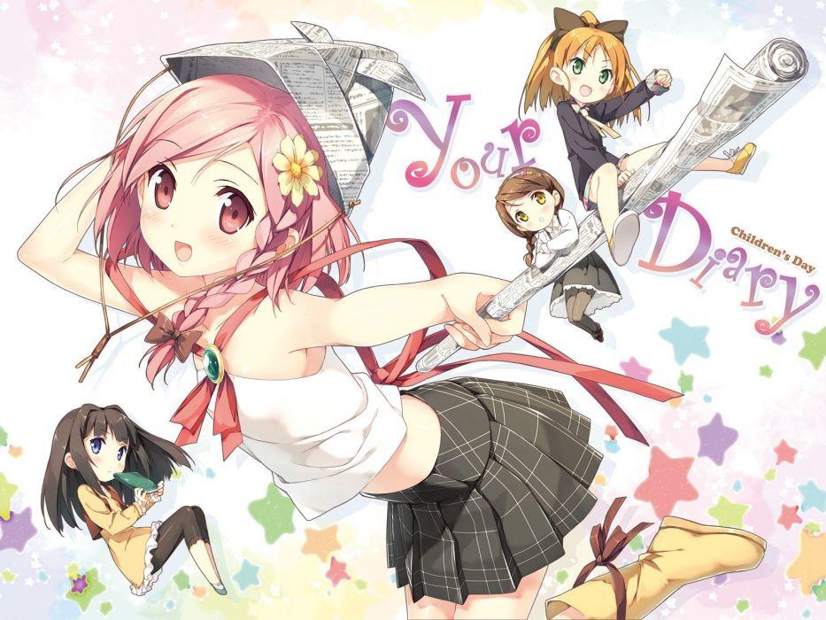 pantyhose cubes Your Diary Hirosaki Kanade Ayase Sayuki Kantoku (artist) Minagawa Yuuhi Yua (Your Diary) wallpaper