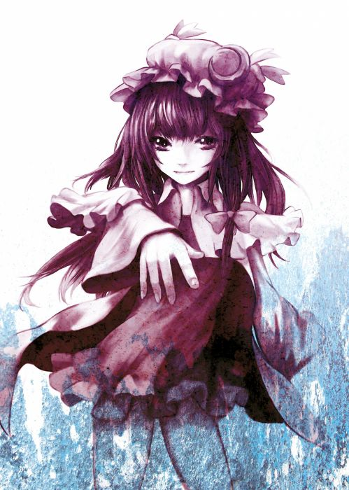 video games Touhou dress Moon purple long hair purple hair smiling bows purple eyes soft shading Patchouli Knowledge hats pink dress anime girls polychromatic witches hair ornaments bangs Eruza wallpaper
