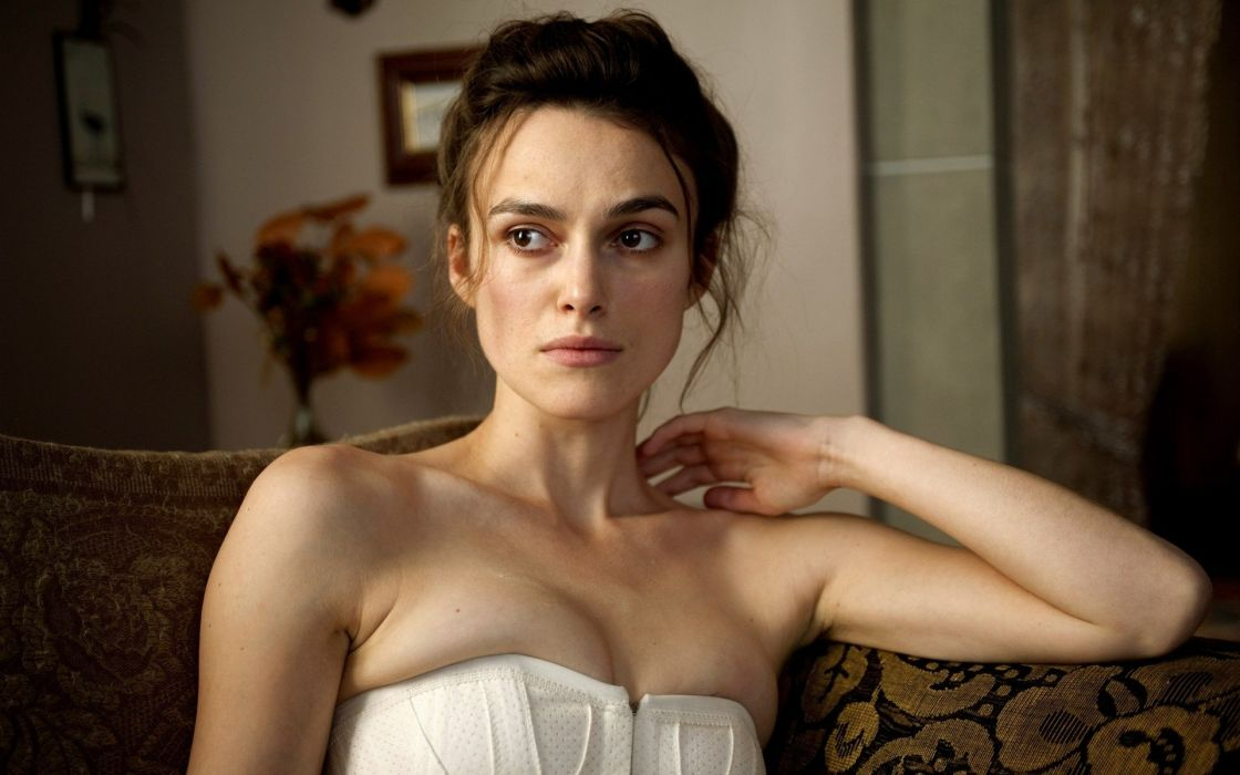 women couch movies Keira Knightley shoulders white dress A Dangerous Method wallpaper