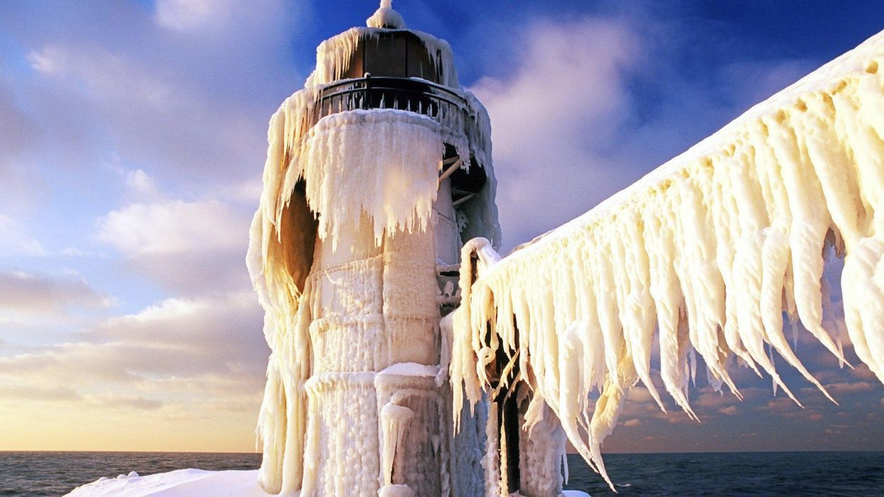 ice landscapes nature frozen lighthouses sea wallpaper