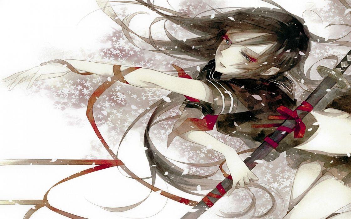 katana red eyes anime girls black hair wallpaper