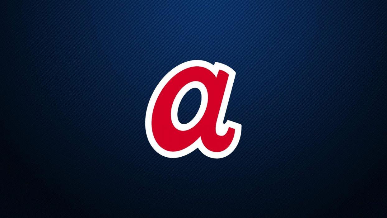 blue retro Atlanta Braves logos wallpaper