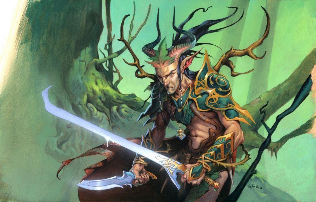 Magic: The Gathering fantasy art elves daggers swords Jesper Ejsing wallpaper
