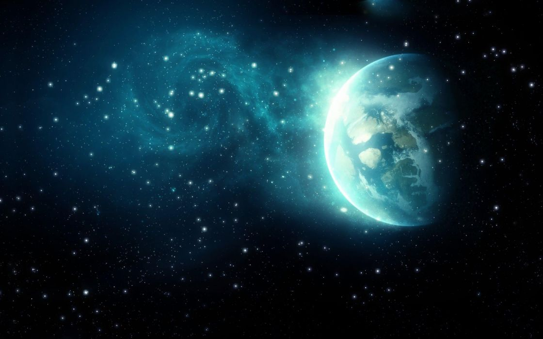 blue outer space planets space wallpaper