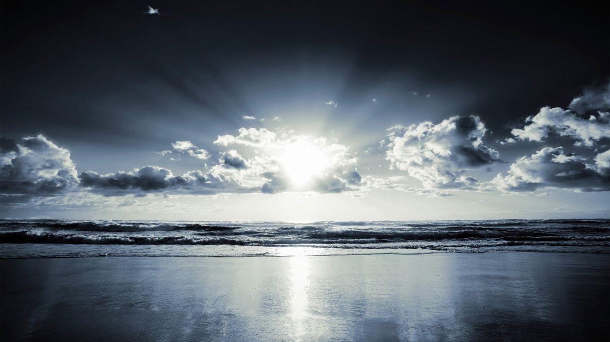 clouds sunlight sea beaches wallpaper