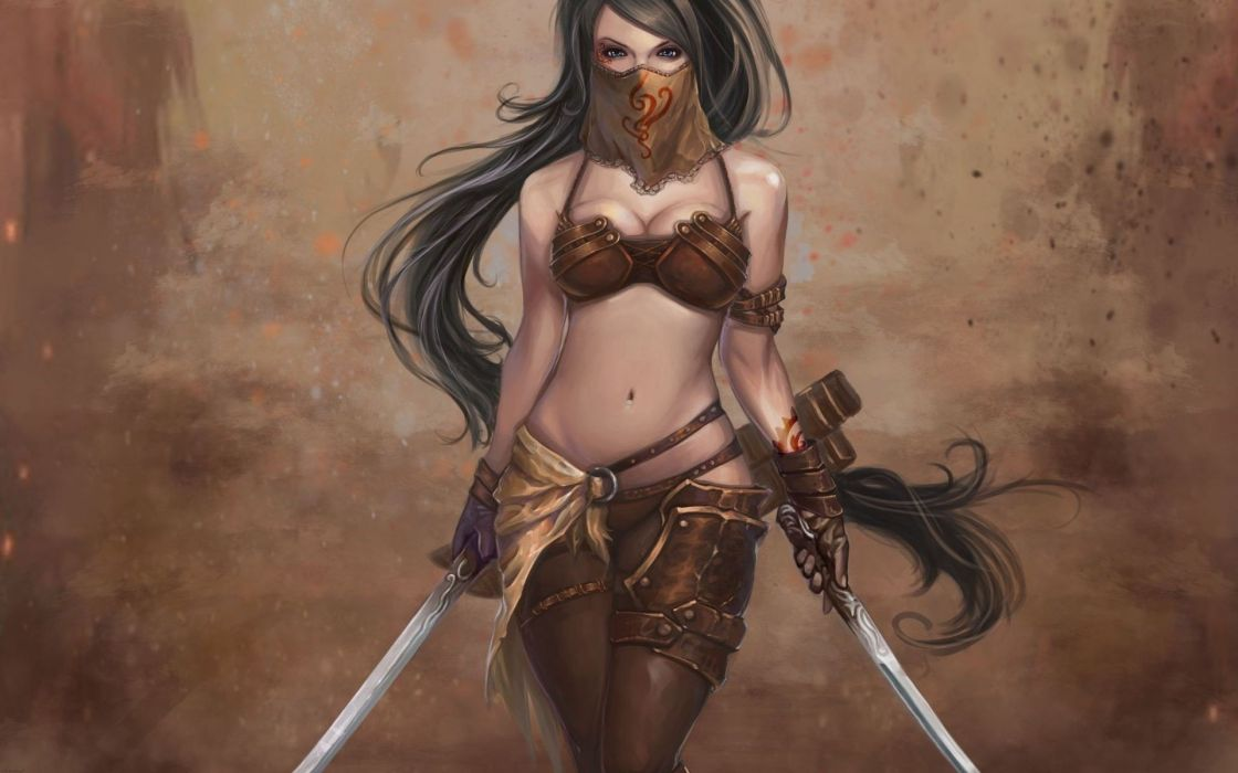 women weapons blade artwork wallpaper