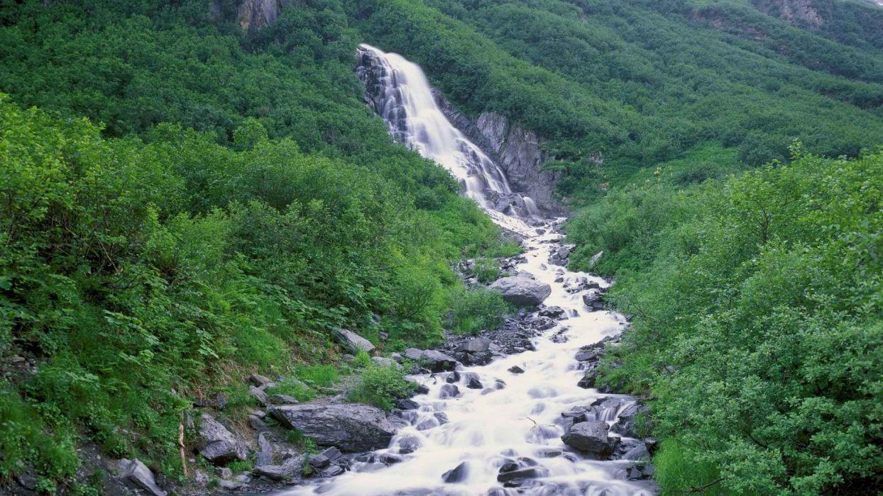 mountains Alaska torrent waterfalls wallpaper