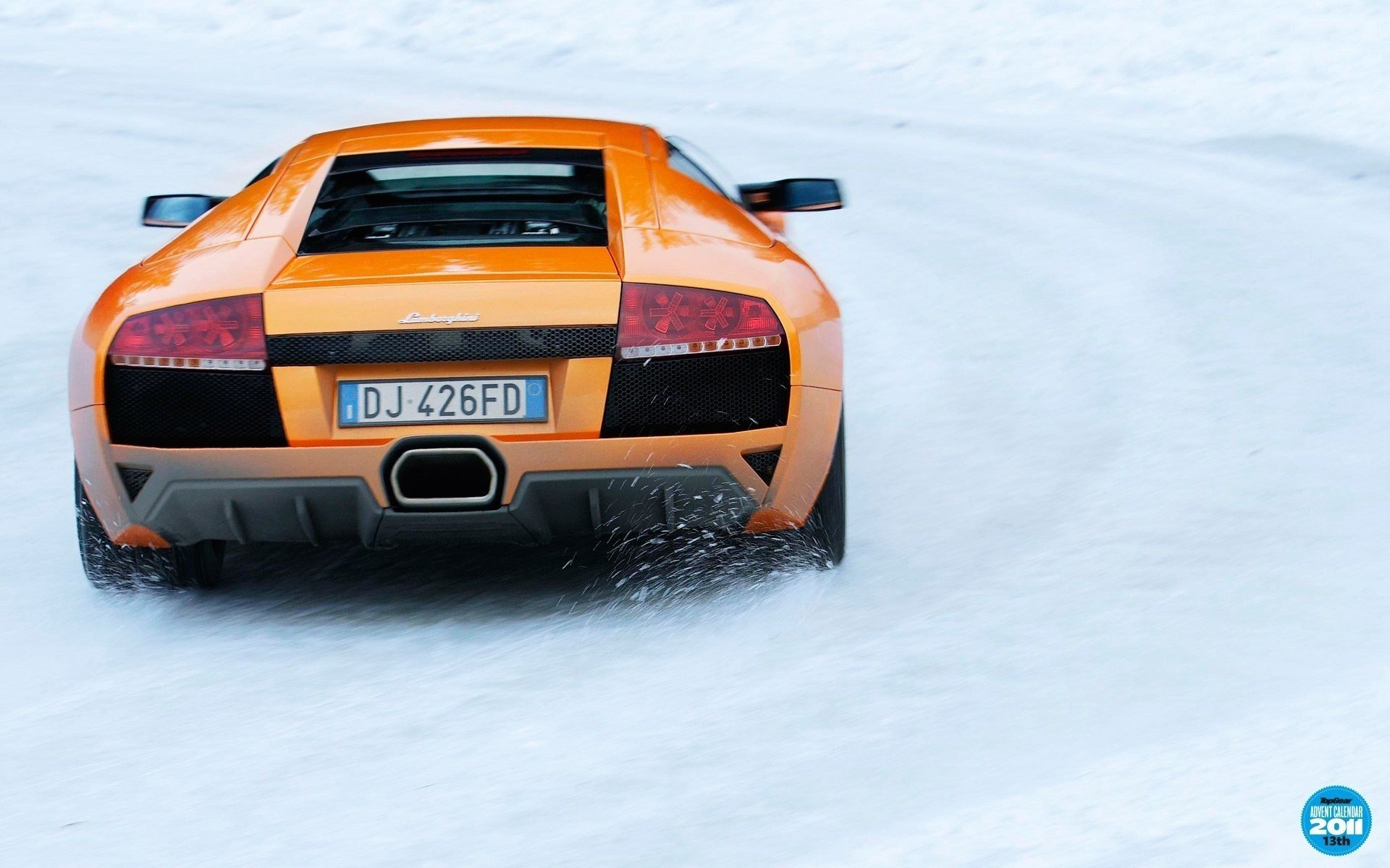 Snow cars orange Lamborghini Murcielago LP640 wallpaper ...
